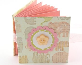 Tumbling Elephants II Mini Photo Book, 2x3 wallets - rose, yellow, taupe