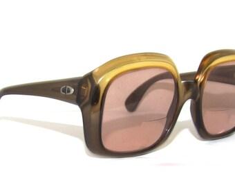 Rare Dior Mod 1960s Eyeglasses // 60s 70s Vintage  Designer Frames // Two Tone // with Case // Christian Dior