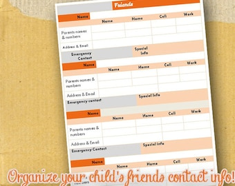Child Friend Information / Planner Page / Form / DIY / Printable / 8.5 x 5.5