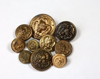 Vintage Eagle Picture Buttons Metal Buttons Uniform Jacket Buttons Lot of 10 Eagle and Anchor Button Military Eagle Button