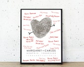Wedding Guest Book Alternative - Your Fingerprint Custom Wedding Poster  -  Wedding Gift - Fingerprint Wedding Poster