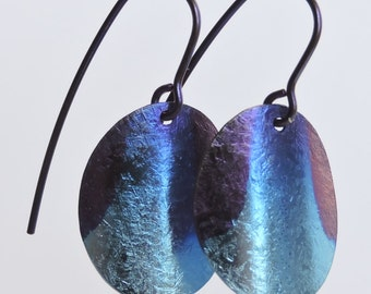 Niobium earrings: One of a kind Night Sky anodized ovals
