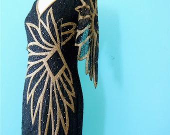 80's open back black dress // silk black and gold beaded evening dress ~ small medium