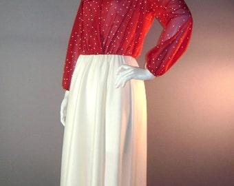 1970s vintage dress 70s LOVE HEART PRINT red white ivory wine full skirt dress