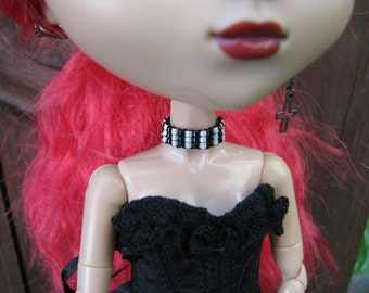 Pullip & Blythe Fashion Doll Black and white stripes Choker Necklace