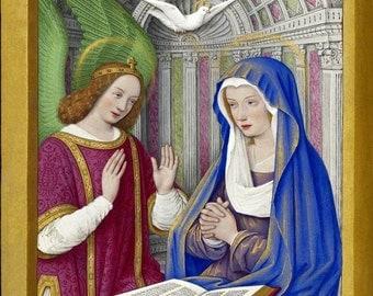 antique french catholic religion illustration the annunciation illumination DIGITAL DOWNLOAD