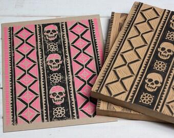 Artesanía Sugar Skull - Pink Block Print
