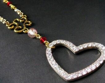 Rhinestone Heart Necklace. Sweetheart Necklace. Pink Necklace. Beaded Necklace. Gold Necklace. Red Necklace. Handmade Jewelry.