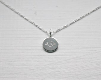 Silver name pendant etsy engraved necklace sterling silver disk custom name pendant monogram letter initials mozeypictures Choice Image