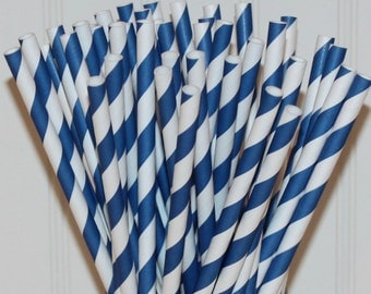 Paper Straws, 25 Moonlight Blue Paper Straws, Striped Paper Straws, Preppy Party, Navy Paper Straws, Wedding Drink Straw, Mason Jar Straw