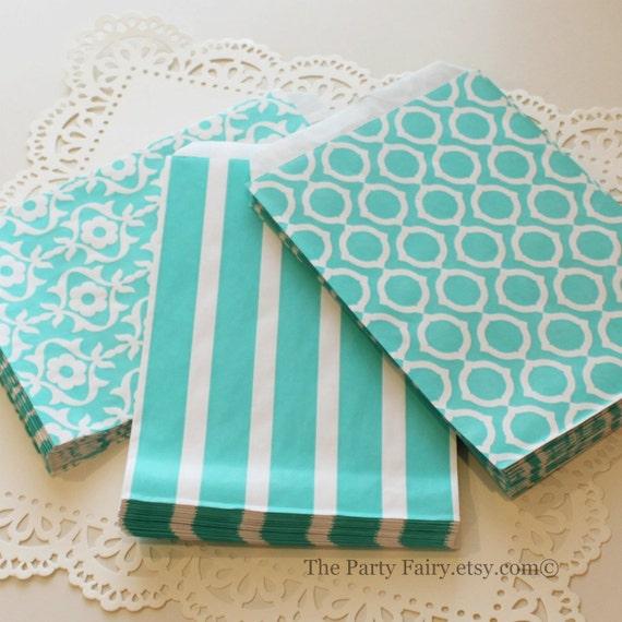 Paper Favor Bags 15 Aqua Paper Treat Bags Party Favor Bags