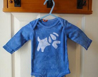 Dog Baby Bodysuit, Blue Dog Baby Gift, Gender Neutral Baby Gift, Dog Baby Shower Gift, Baby Dog Bodysuit (3 months) SALE