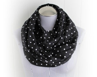 Black and White Polka Dot Flannel Infinity Scarf