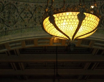 Chicago Photo, Chicago Cultural Center, Tiffany lamps, photography, vintage Tiffany chandeliers, architecture, Chicago Art, moss green