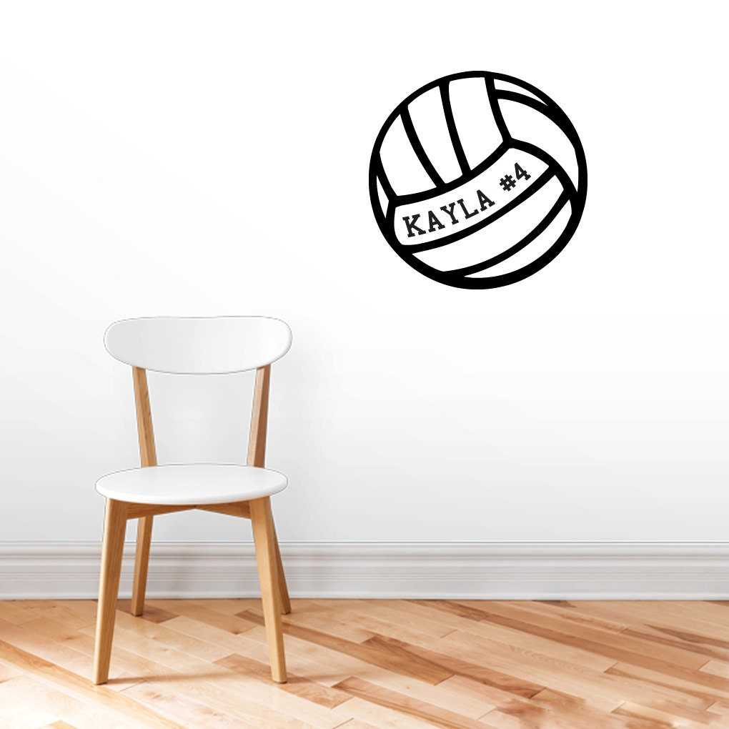 custom volleyball with name wall decals personalized sports. Black Bedroom Furniture Sets. Home Design Ideas