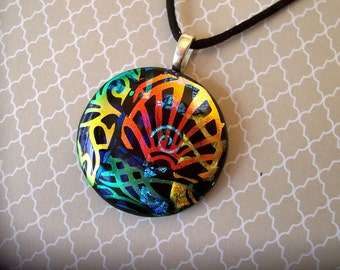 Dichroic Fused Glass Pendant - Necklace - Dichroic Glass Jewelry - Multicolored - 6-14