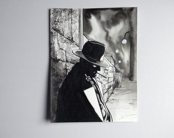 Inktober ink Illustration on paper  - man with hat
