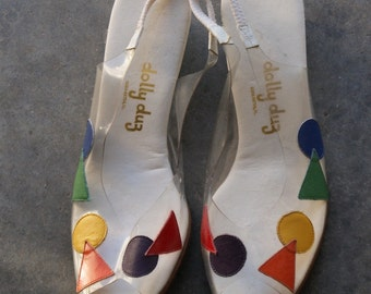 Vintage 1980s Clear Rainbow  Circle and Triangle Peep Toe Wedges  6 -6.5
