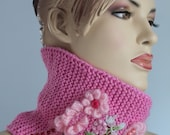 Hand knitted and Crocheted  Pink   Scarf  - Neck Warmer - Ready to ship