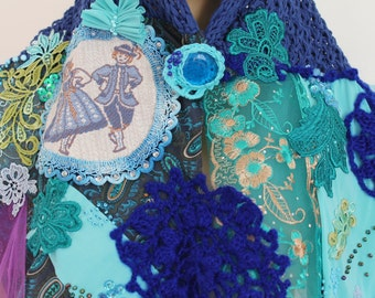 Blue Turquoise Hand Knit Crochet Embrodered Shabby Chic Scarf Shawl- Textile Collage -Tattered - Wearable Art - OOAK