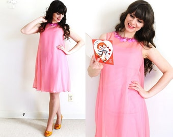 1960's Dress / Pink 60s Mod Dress / Valentines Day Dress