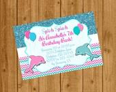 Dolphin Under the Sea Birthday Invitation, Under the Sea Party Invitation, Dolphin Birthday, Printable Invitation, Design #0014