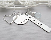 Personalized Necklace, Personalized Jewelry, Sterling Silver, Engraved Necklace, Childs Name Necklace, Childs Birthdate Necklace