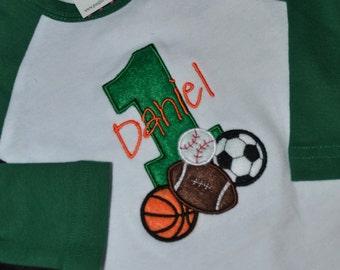 1st Birthday Shirt Baseball basketball soccor footbal shirt sports balls number 1 and name personalized Raglan Long Sleeve