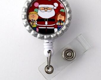 Santa Claus with Kids - Nursing Badge Holder - Holiday Badge Reel  - Nurse Gift - Nurses Badge - Cute Badge Reel - Santa Claus Badge Reel