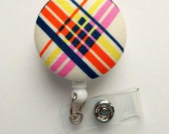 Geometric Plaid - Nurse Badge Holder - Medical Badge Reel - Retractable Badge Reel - Teacher Badge - Cute Badge Reel - Designer Badge Reel
