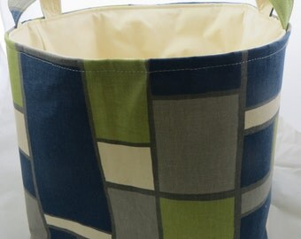 Fabric Organizer, Storage Bin, Container Basket, Premier Prints Hopscotch Felix Natural 12 x 10 x 7+