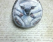 Hedgehog, Painted Rock, hand painted stone by Shelli Bowler