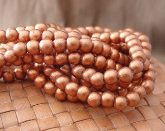 6 mm Round Wood Beads, Metallic Copper (15 inch strand)