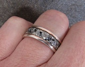 Oxidized Silver and Copper Inlayed Mens Ring