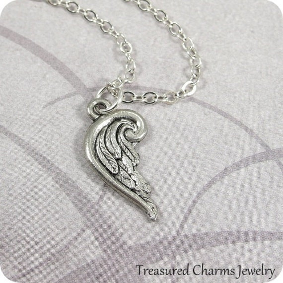 Tiny Angel Wing Necklace , Silver Angel Wing Charm on a Silver Cable Chain