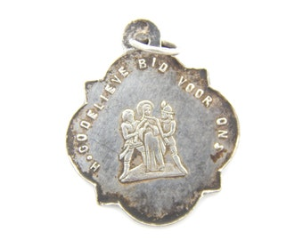 RARE Vintage Sterling Silver Dutch Saint Godelieve Catholic Medal - Patron St of Weather Religious Charm - II22