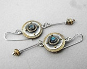 Dangling art deco earrings: Handmade deco-inspired, long, dangling sterling silver, brass and labradorite earrings