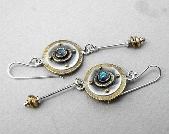 Long, dangling sterling silver, brass, labradorite earrings; dangling art deco earrings; long gemstone earrings; disc and dangling earrings