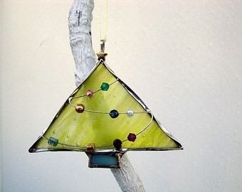 Yellow Stained Glass Christmas Tree Ornament