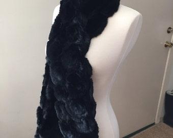 Gorgeous Adrienne Landau Black Fur Scarf