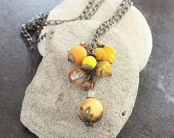 Yellow and Orange Flower Czech Glass Bead Necklace - C.379