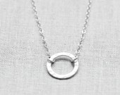 Sterling Silver Karma Necklace, Hammered Circle Necklace Silver, Eternity Necklace, Sterling Silver Ring Necklace, Hammered Circle