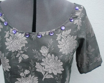 Size S UPCYCLED Silver metallic grey/ gray floral brocade crop top with purple handsewn jewel beads neckline o.o.a.k handmade in UK size 8