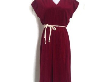 vintage  cranberry Velour holiday Dress, Satin Cream piping
