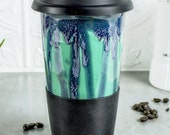 Blue Mint Green Travel Mug with Lid for Mom, Go Mug with Silicone Lid, Mint Green BlueRoomPottery handmade pottery