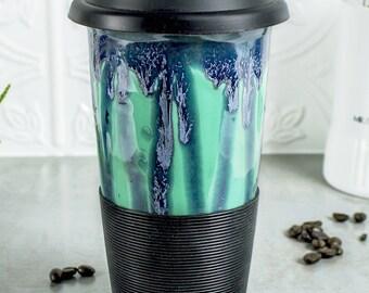 Blue Mint Green Travel Mug with Lid for Mom, Go Mug with Silicone Lid, Mint Green BlueRoomPottery handmade pottery