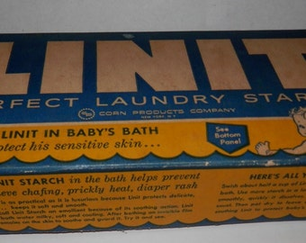 unopened box of Linit laundry starch vintage 1950's