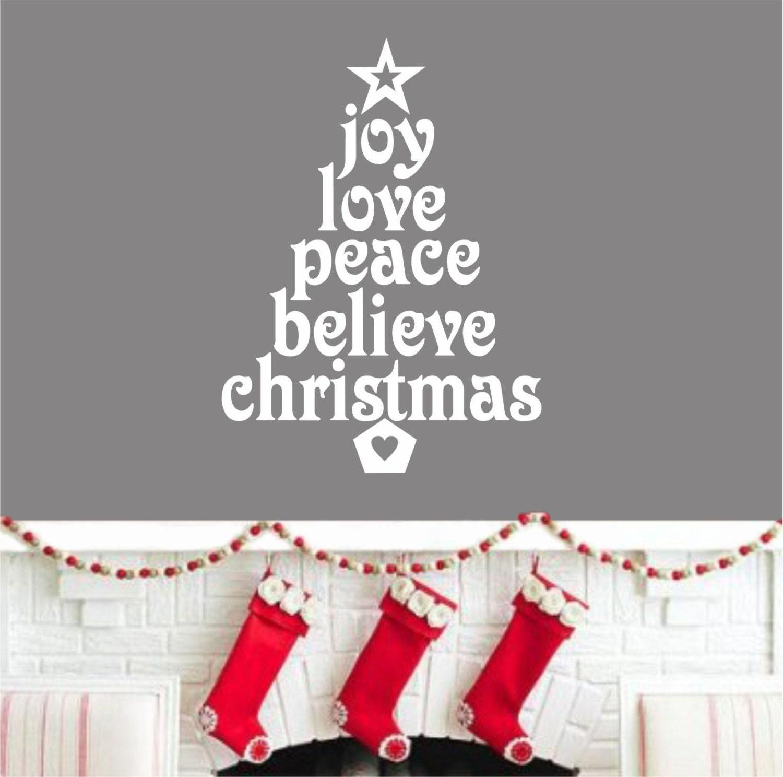 Joy Christmas Word Tree Holiday Decal Christmas Decoration