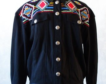 Vintage Beaded Southwest Indian Jacket in Black with stamped silver concho buttons