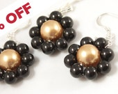 "SALE black gold jewelry set, discount, legant Swarovski pearls and sterling silver ""Bright elegance""-FREE Shipping-ready to ship"